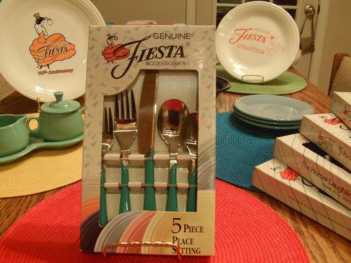 Fiestaware Vintage Turquoise Flatware | Fiestaware Discontinued