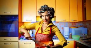 WOMAN IF VINTAGE KITCHEN